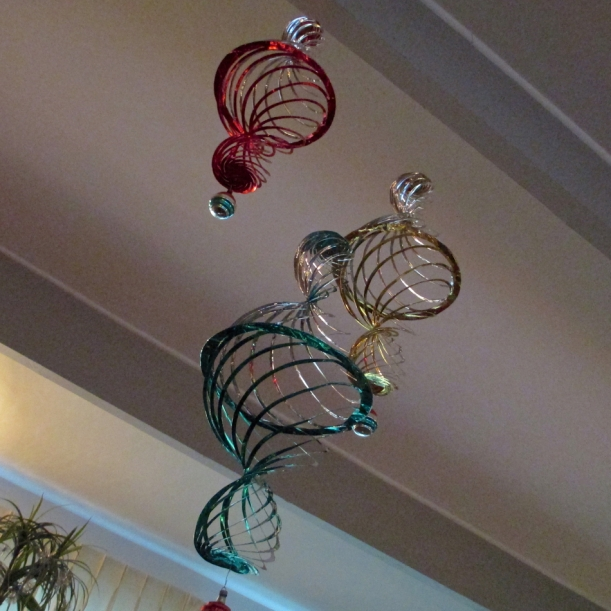 Large Vintage Foil Ornaments in Living Room.