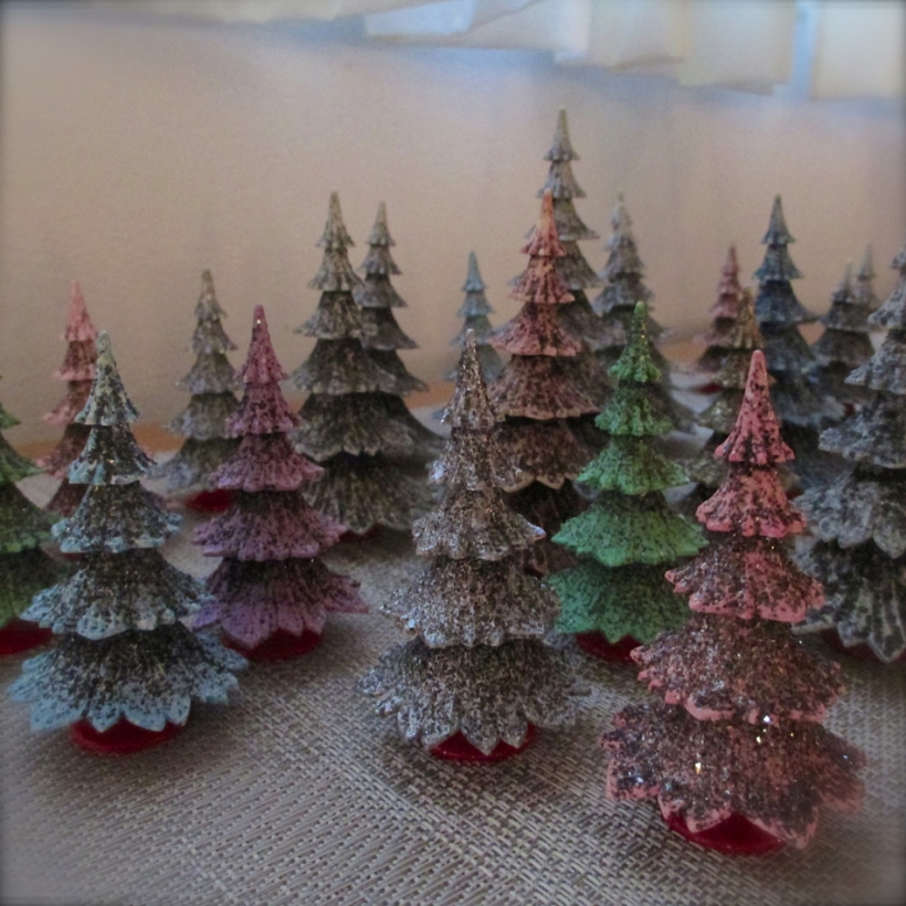 A table top forest of stylized West German trees...