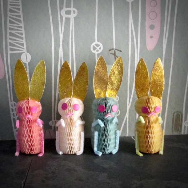 Vintage Honeycomb rabbits bunny